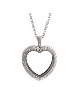 Large Silver Crystal Heart Locket