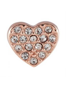 Rose Gold Crystal Heart Charm