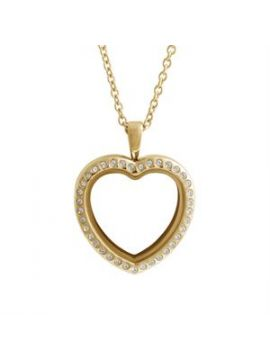 Large Gold Crystal Heart Locket