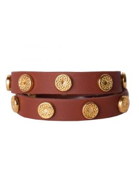 Cognac Leather Wrap with Gold Studs