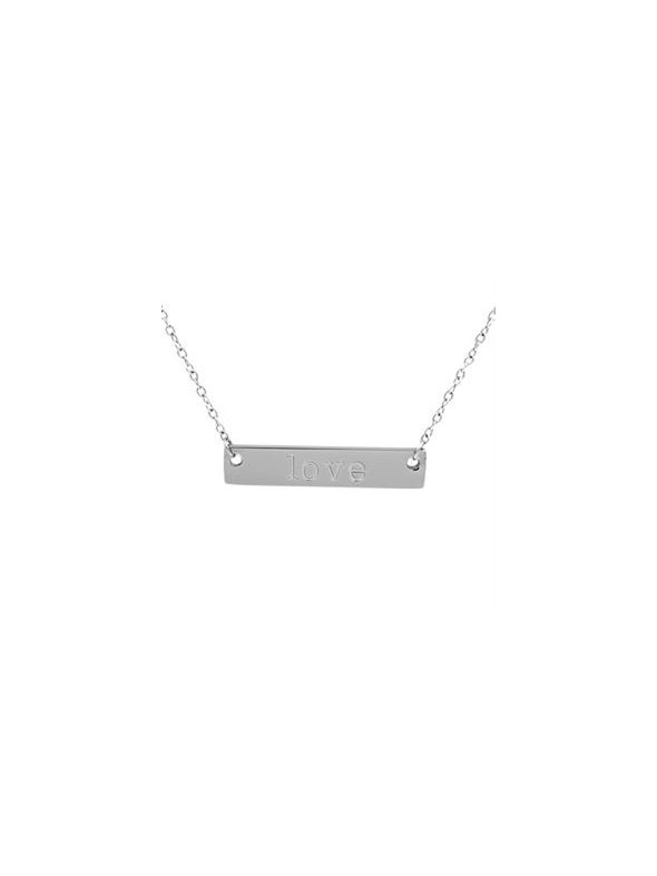 Silver 'Love' Bar Necklace - 16""