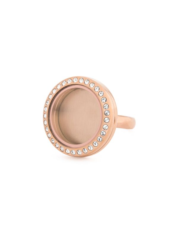 Rose Gold With Crystals Medium Locket Ring - Size 10