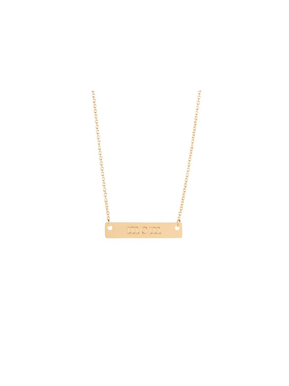 Gold 'Mom' Bar Necklace - 16""