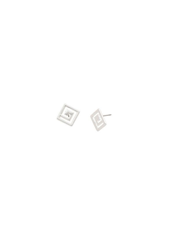 Greek Key Studs Silver